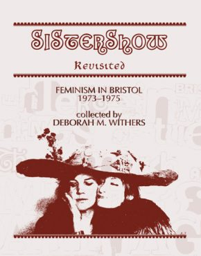 Sistershow Revisited cover, pink background, sepia style image of two women under a giant hat