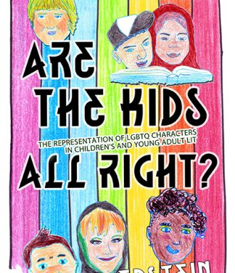 Are the Kids All Right? Book cover. Hand drawn, rainbow background, six children and young adults's faces.
