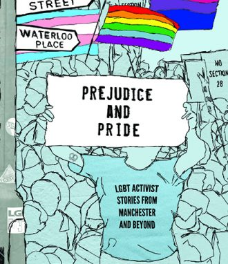 Blue background, an activist holds a sign 'Prejudice and Pride' rainbow flag, signposts to Sidney Street and Waterloo Place