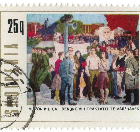 A stamp which includes the statement 'denunciation of the warsaw pact'