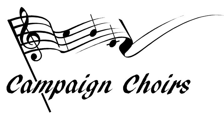 A piece of sheet music styled as a flag with the text Campaign Choirs underneath